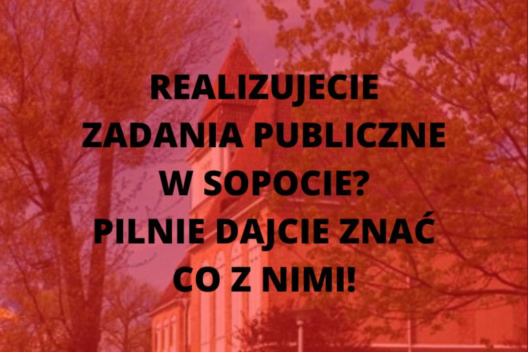Pilne! Informacje o stanie realizacji zadań publicznych