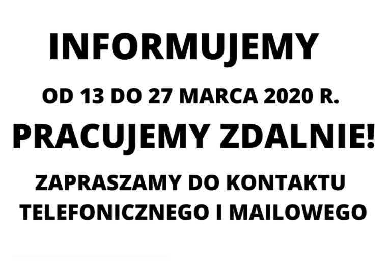 PRACUJEMY ZDALNIE | 13-27.03.2020