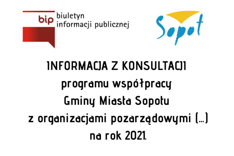 Informacja z konsultacji Rocznego Programu Współpracy GMS z organizacjami pozarządowymi na 2021 r.