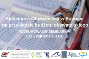 """Podsumowanie seminarium """"Aktywność Obywatelska w Sopocie na przykładzie budżetu obywatelskiego"""""""